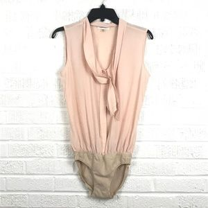 Calvin Klein Silk Short Sleeve Blush Bodysuit M